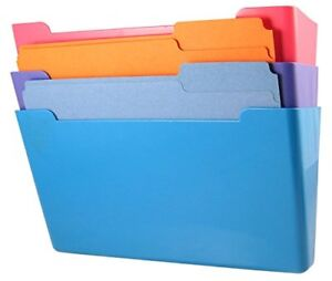 Us works Wall File Pocket Assorted Colors pink Purple Blue Letter Size P