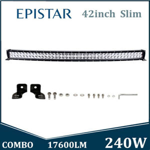240w 42inch Curved Led Work Light Bar Spot Flood Combo Wiring Truck Suv Slim 4wd