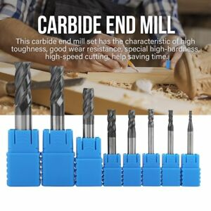 8x 2 12mm Carbide End Mill 4 Flutes Set Tungsten Steel Milling Cutter Tool Q