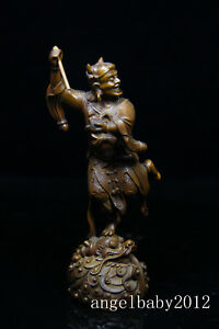 8 China Old Handcarved Boxwood Wood Augur Wizard Dragon Statue