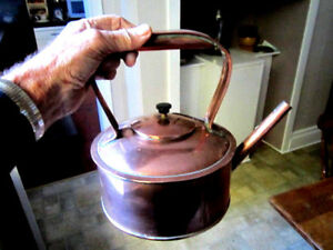 Old Edwardian Copper Kettle Large Capacity Antique English Made C1905