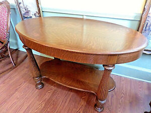 Antique Tiger Oak Oval Side Writing Table 48