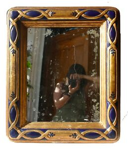 Vintage Persian Style Blue Gold Framed Wall Hanging Oxidized Mirror