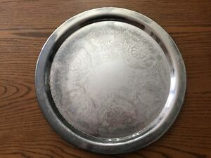 Oneida 19 Etched Round Serving Tray Silver Plated