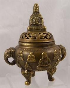 Chinese Bronze Censer Ming Xuande Mark Later Buddish Imagery