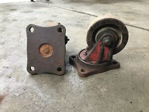 2 H C Co Vintage Red Industrial Swivel Casters Heavy Duty Steampunk Factory