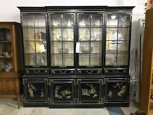 Black Asian Styled China Cabinet With Gold And Silver Accents