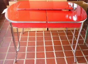 Awesome Vintage 1948 Red Enamel Porcelain Kitchen Table Chrome Legs Leaf