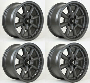 4 New 15 Enkei Compe Wheels 15x7 15x8 4x100 38 25 Gunmetal Paint Staggered Rims