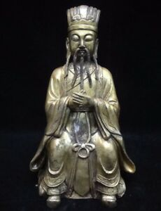 Rare Old Chinese Bronze Figure Of Official Buddha Man Statue Marked Yongle