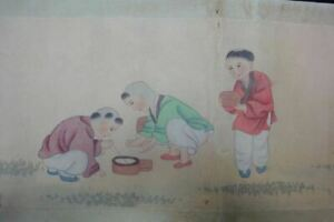 Very Long Old Chinese Scroll 100 Hand Painting Lovely Children Gaiqi Marks