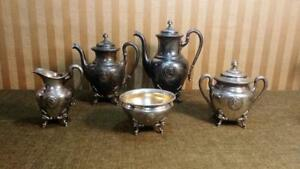 Antique 1868 Reed Barton 5 Pc Roman Medallion Silverplate Coffee Tea Set 2114