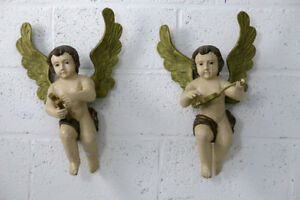 Pair 19 6 French Wood Carved Polychrome Glass Eyes Angels Putti Music Playing