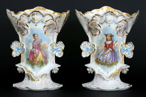 Gorgeous Antique Vieux Old Paris Porcelain Vases Romantic Noble Lady Portraits