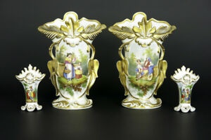 Stunning Set Antique Vieux Old Paris Porcelain Vases Victorian Lady Portrait