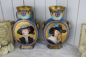 Antique Pair French Porcelain Round Vases Portrait Monogram Marked Rare
