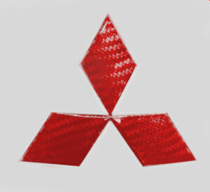 Mitsubishi Red Carbon Fiber Sticker Overlay Decal For 2004 2016 Emblems