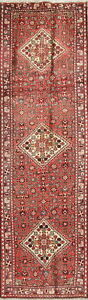 One Of A Kind Vintage Geometric Malayer Hand Knotted Runner Rug Wool 3x10 Red