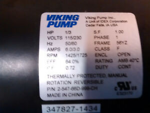 Viking Pump Electric Motor W Toggle Switch Cord 120v 1 3hp 1425 1725 Rpm 1ph