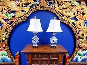 Exquisite Pair Of 30 Tall Chinese Blue White Porcelain Vase Lamps