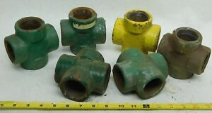 6 Pack Used 1 1 2 Cross Pipe Socket Weld Fitting Forged 4 way Equal Rust Ig