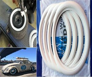 4 Vintage Tire Snap On White Wall Tire Trim 15 Topper Vw Chevy Ford Rat Rod