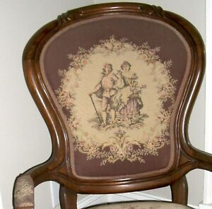 Antique Parlor Chair 1800 S Victorian Needlepoint Brown Cat 39