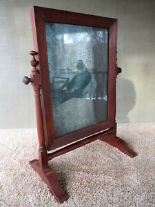 Antique Shaving Mirror 19th Century Walnut Wood Dresser Mirror Stand Wood Screws