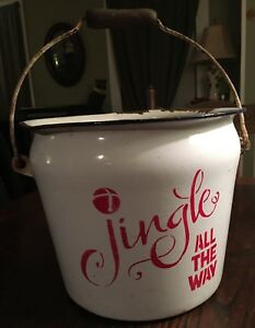 Vintage Metal Enamel Pail With Wooden Handle Christmas Tree Bucket Jingle