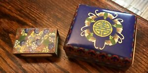Antique 19th Century Chinese Cloisonne Five Bat Trinket Box With Matching Match