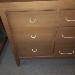 Vintage Mid Century Solid Wood 9 Drawers Dresser With Mirror Antique