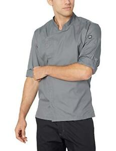 New Chef Works Men s Lansing Chef Coat Gray Large Free2dayship Taxfree