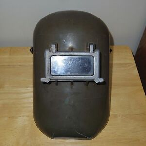 Vintage Metal Fiberglass Steampunk Welders Helmet Flip Up Lens Used gc