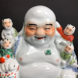 Antique Signed Rose Famille Porcelain Laughing Buddha W 5 Children Qing Dynasty