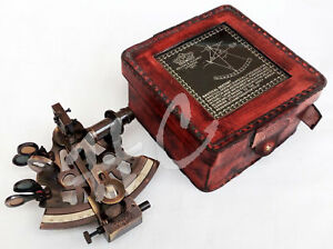 Antique Nautical Shiny Brass Sextant With Leather Box Brass Vintage Gift