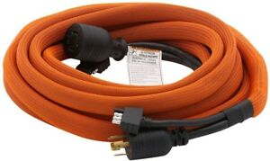 Ridgid Generator Extension Cord 25 Ft 30 Amps Linkable Sheathed Cover 2 outlet