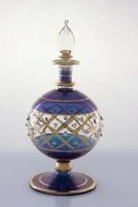 Antique Egyptian Blue Perfume Bottle With 14k Gold Special Edition Old Fashion