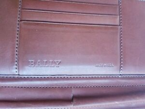 Bally Brown Leather Portfolio Bi fold Folder Notebook Document Case Made In Usa