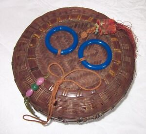Chinese Sewing Basket Glass Handles Antique Peking Glass Beads Coin