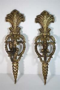 Pair Vintage Solid Brass Ornate Single Candle Wall Sconces