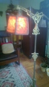 Vintage Art Deco Brass Plated And Cast Iron With Mica Lamp Shade Bridge Lamp