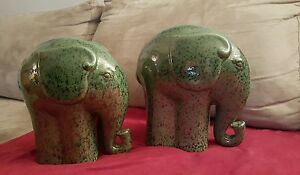 Pair Of 10 Elephants Mantle Decor Great Condition Retired Rare