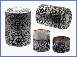 Fabulous Sterling Silver Sewing Thread Holder Flowers C 1890s