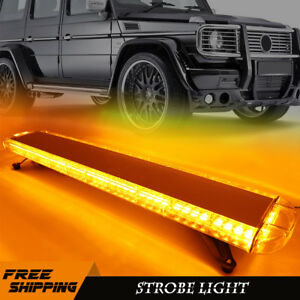 72 Led Amber Strobe Light Bar Car Roof Top Emergency Beacon Lamp Yellow