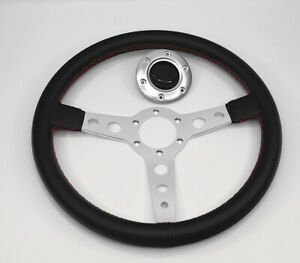 350mm Off Road Pvc Leather White Stitch Yellow Racing Jdm Grey Steering Wheel