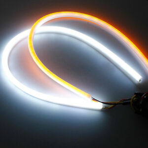 2pc 45cm Car Soft Tube Led Strip Light Drl Switchback Turn Signal Lamps Ribbon