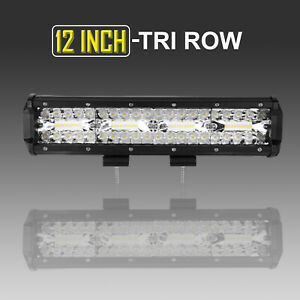 12 Inch Quad Row 1176w Lens Led Work Light Bar Amber White Strobe Fog For Jeep