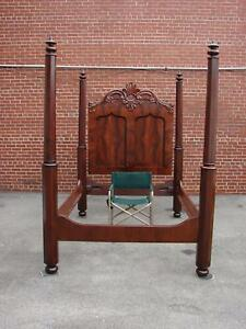Gorgeous 19th Century American Mahogany Empire Queen Size Bed