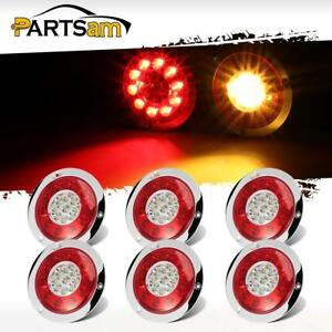 6xtruck Trailer Lorry 4 3 19 Led Brake Stop Turn Signal Tail Lights Chrome Ring