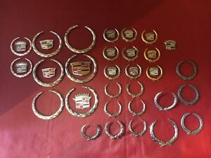 Cadillac Crest Wreath Lot Oem Used Emblems L1100